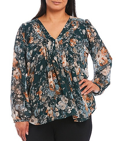 Calvin Klein Plus Size Floral Print Chiffon V-Neck Pleat Front Long Sleeve Top