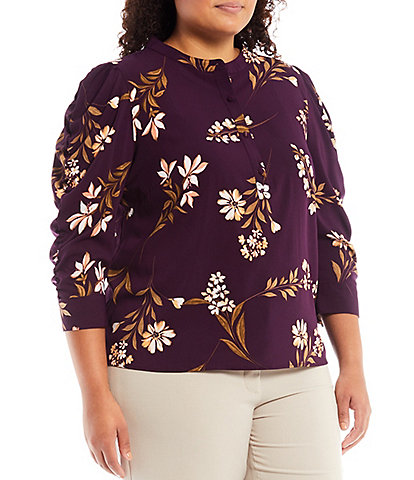 Calvin Klein Plus Size Floral Print Crepe de Chine Band Collar Neck 1/2 Button-Front Ruched 3/4 Sleeve Popover Top