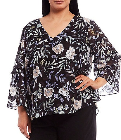 Calvin Klein Plus Size Floral Print V-Neck Ruffle Detail Sleeve Top