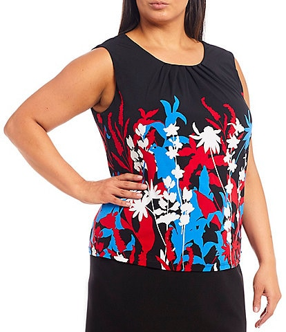 Calvin Klein Plus Size Floral Printed Matte Jersey Pleat Neck Sleeveless Top