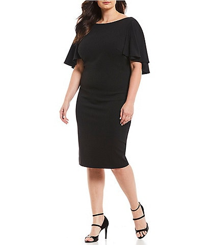 dd3c3186ba0b7 Calvin Klein Plus Size Flutter Cape Sheath Dress