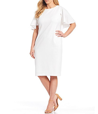 Calvin Klein Plus Size Flutter Sleeve Scuba Crepe Sheath Dress