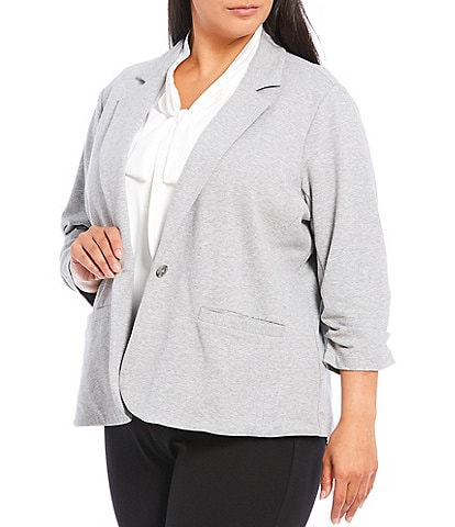 Calvin Klein Plus Size French Terry Knit Notch Lapel 3/4 Sleeve One Button Jacket