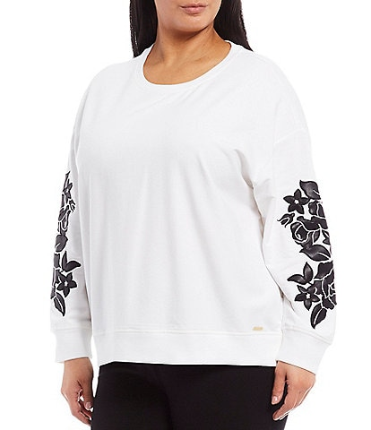 Calvin Klein Plus Size French Terry Knit Sweatshirt With Contrast Floral Applique Long Sleeves