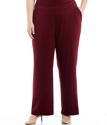 Calvin Klein Plus Size French Terry Wide Leg Pull-On Pants