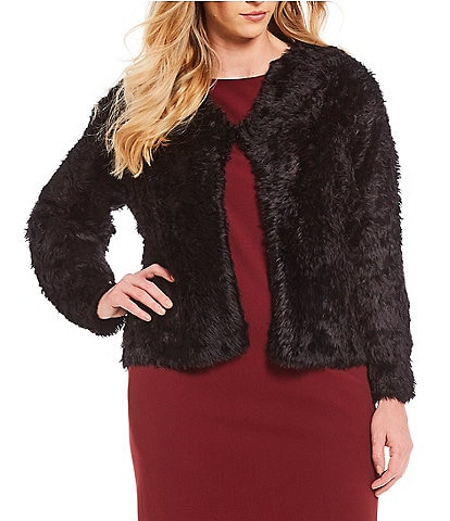 Calvin Klein Plus Size Furry Faux Fur Open Front Cardigan