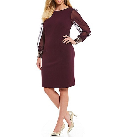 Calvin Klein Plus Size Long Chiffon Sleeve Embellished Cuff Dress