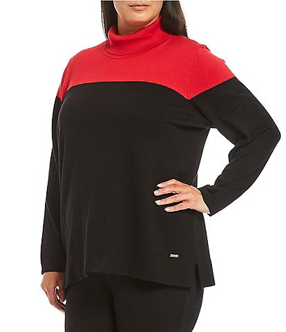 Calvin Klein Plus Size Long Sleeve Colorblock Turtle Neck Sweater