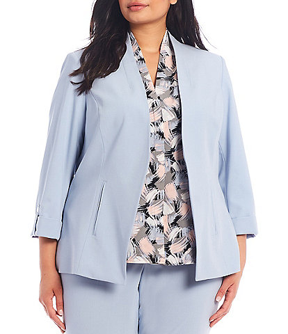 Calvin Klein Plus Size Lux Stretch Suiting Roll-Tab Sleeve Cut-Away Front Hem Open-Front Jacket