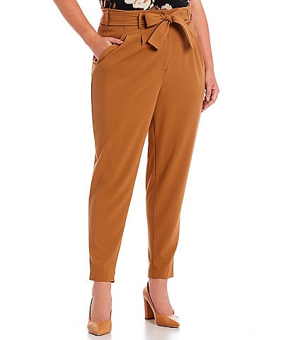 Calvin Klein Plus Size Lux Stretch Suiting Self Tie Front Pull-On Pants