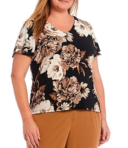 Calvin Klein Plus Size Matte Jersey Floral Print V-Neck Double Tiered Short Sleeve Top