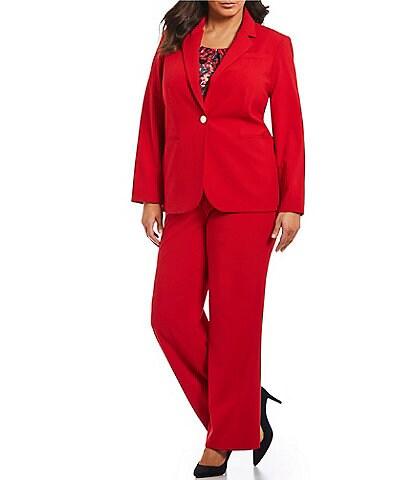 Calvin Klein Plus Size One Button Luxe Notch Collar Blazer Jacket & Lux Highline Pant