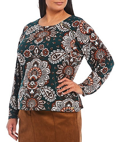 Calvin Klein Plus Size Paisley Floral Print Round Neck Zipper Shoulder Detail Long Sleeve Top