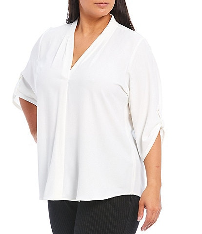 Calvin Klein Plus Size Pleated V-Neck Long Roll-Tab Sleeve Crepe de Chine Top
