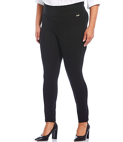 Calvin Klein Plus Size Ponte Wide Waistband Pull-On Skinny Ankle Pants