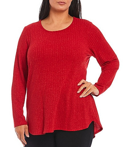 Calvin Klein Plus Size Ribbed Scoop Neck Long Sleeve Hi-Low Hem Top