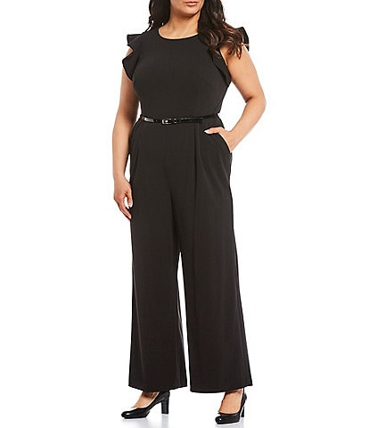 Calvin Klein Plus Size Ruffle Sleeve Belted Wide Leg Jumpsuit