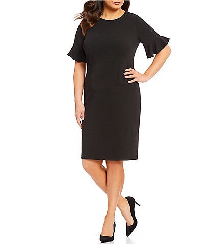 bdb32324efb Calvin Klein Plus Size Ruffle Sleeve Sheath Dress