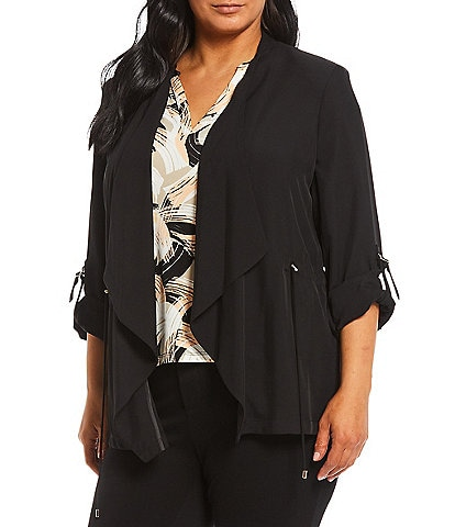 Calvin Klein Plus Size Scrunch Sleeve Drawstring Waist Detail Open Front Jacket