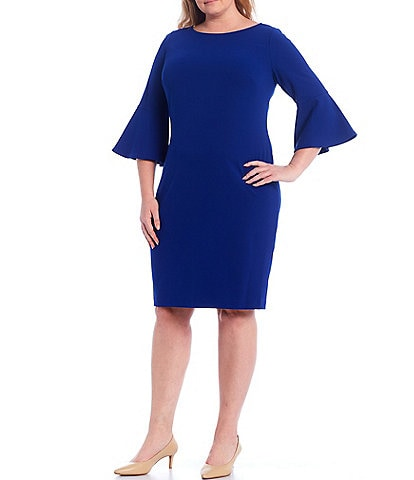 Calvin Klein Plus Size Scuba Crepe Bell Sleeve Knee Length Sheath Dress
