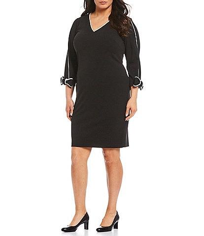 Calvin Klein Plus Size V-Neck 3/4 Sleeve Scuba Crepe Piping Trim Sheath Dress