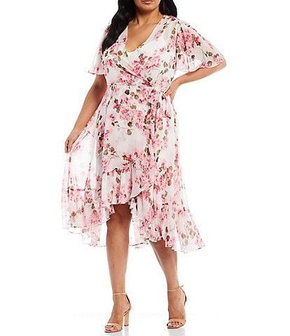 Calvin Klein Plus Size Short Sleeve Floral Chiffon Wrap Dress