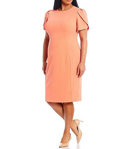 Calvin Klein Plus Size Tulip Sleeve Solid Stretch Sheath Dress