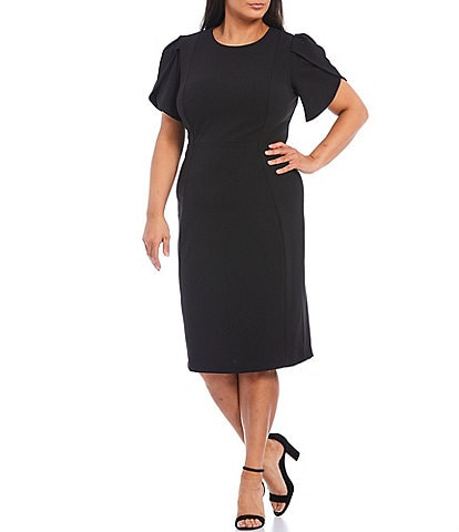 Calvin Klein Plus Size Short Tulip Sleeve Solid Stretch Sheath Dress