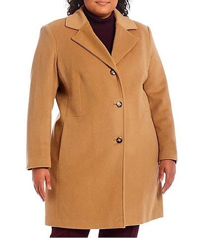 Calvin Klein Plus Size Single Breasted Notch Lapel Wool Blend Reefer Coat