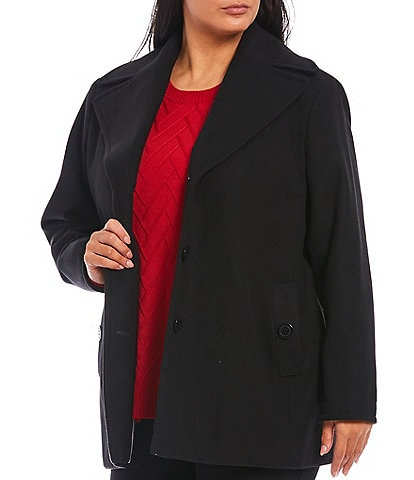 Calvin Klein Plus Size Single Breasted Three Button Front Wool Blend Peacoat