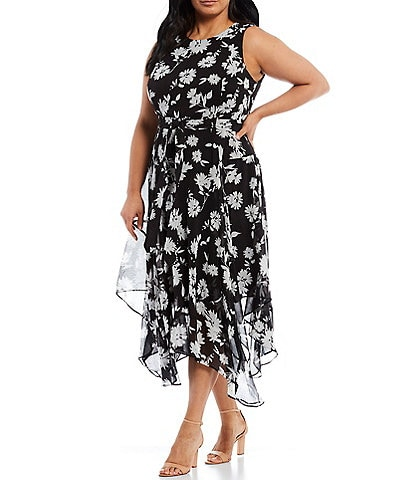 Calvin Klein Plus Size Sleeveless Floral Asymmetrical Hem Ankle Length Dress