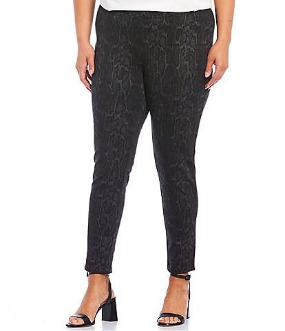 Calvin Klein Plus Size Snake Skin Print Ponte Knit Seamed Slim Leg Pants