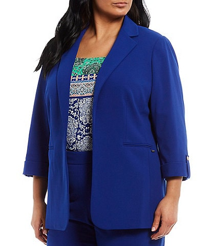 Calvin Klein Plus Size Stretch Scuba Crepe Notch Lapel Collar Roll-Tab Sleeve One-Button Front Jacket