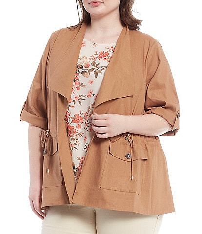 Calvin Klein Plus Size Stretch Woven Wing Lapel Collar Roll-Tab Sleeve Drawstring Waist Detail Open-Front Jacket