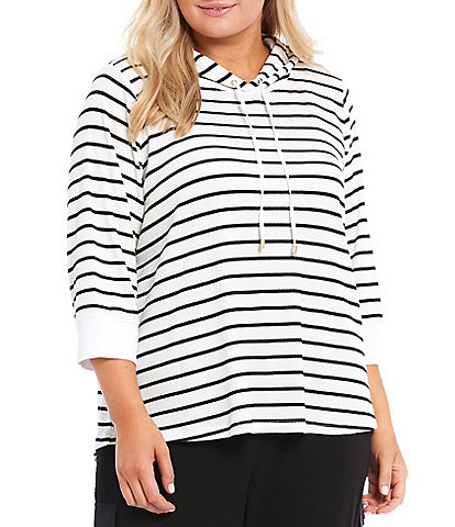 Calvin Klein Plus Size Stripe Print Knit 3/4 Sleeves Contrast Cuff Hoodie Pullover
