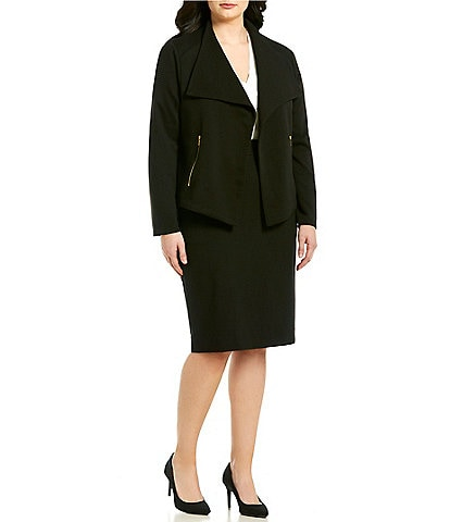 22668938806 Calvin Klein Plus Size Textured Knit Flyaway Jacket   Pencil Skirt