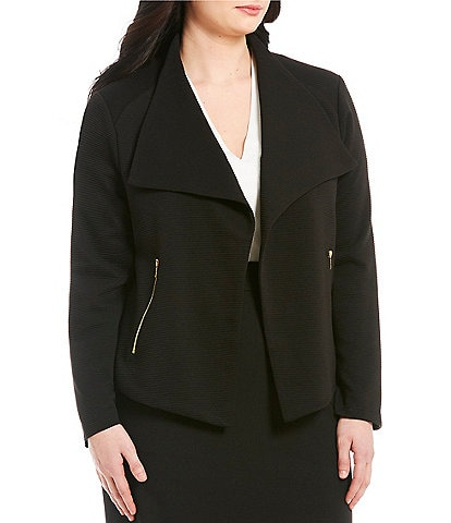 Calvin Klein Plus Size Textured Knit Flyaway Jacket