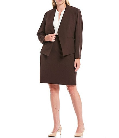 Calvin Klein Plus Size Textured Stretch Suiting Pointed Open Front Jacket & Suiting Pencil Skirt