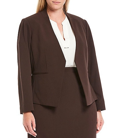 Calvin Klein Plus Size Textured Stretch Suiting Pointed Open Front Jacket