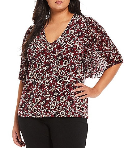 Calvin Klein Plus Size V-Neck Mixed Media Short Pleated Sleeve Floral Top