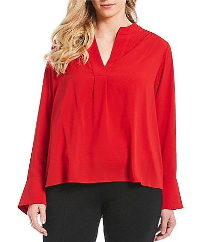 Calvin Klein Plus Size V-Neck Solid Split Cuff Top