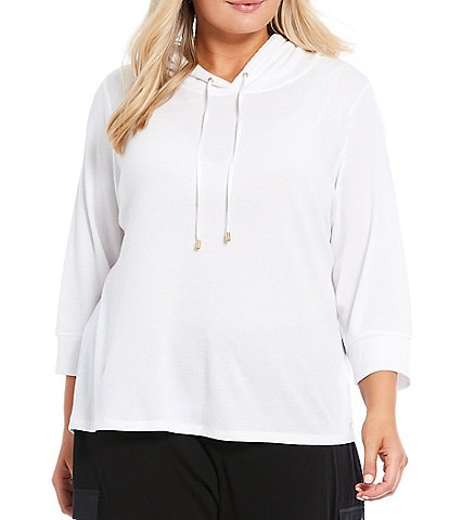 Calvin Klein Plus Size Waffle Knit 3/4 Sleeve Hoodie Pullover