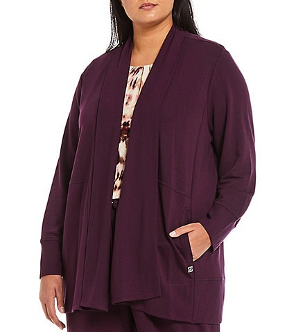 Calvin Klein Plus Size Washed French Terry Flyaway Shawl Collar Open Front Long Sleeve Cardigan