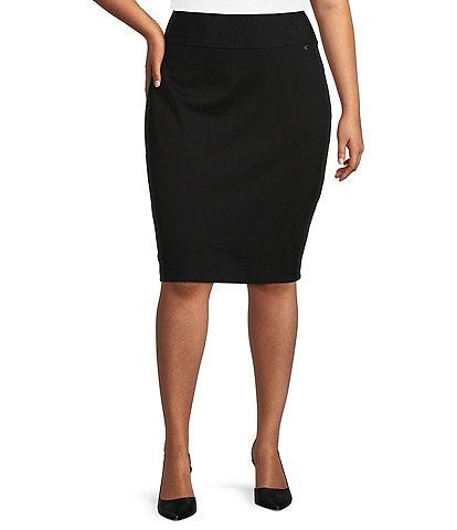 Calvin Klein Plus Size Wide Waistband Pull-On Ponte Skirt
