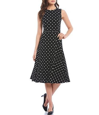 Calvin Klein Polka Dot Scuba Crepe Midi Dress