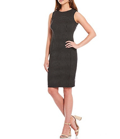 Calvin Klein Polka Dot Sleeveless Sheath Dress