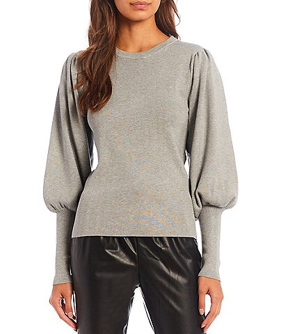 Calvin Klein Ribbed Crew Neck Wide Cuff Long Puff Sleeve Statement Sweater