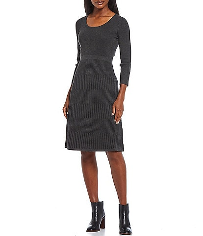 Calvin Klein Ribbed Sweater Knit Scoop Neck Long Sleeve A-Line Dress