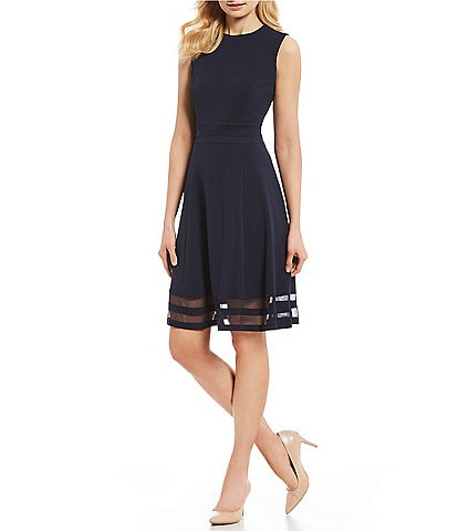 Calvin Klein Round Neck Mesh Inset Hem Crepe Fit & Flare Dress