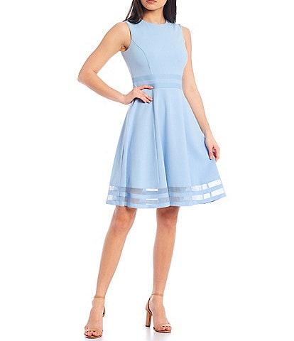 Calvin Klein Round Neck Sleeveless Illusion Hem Crepe A-Line Dress